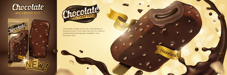 Premium chocolate ice cream bar with sauce swirling around on golden glitter background in 3d illustration