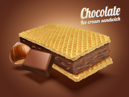 Hazelnut chocolate ice cream sandwich with wafer cookies and ingredients in 3d illustration, brown background