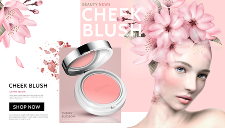 Romantic cheek blush with beautiful woman wearing floral head decoration in 3d illustration Vettoriali
