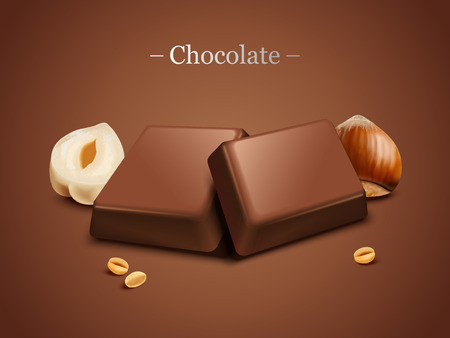 Hazelnut chocolate on brown background in 3d illustration Çizim