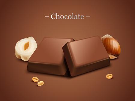 Hazelnut chocolate on brown background in 3d illustration Illustration