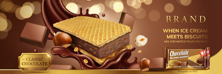 Hazelnut chocolate ice cream sandwich with wafer cookies and splash sauce in 3d illustration, glitter brown background