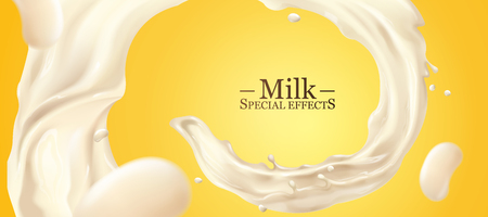 Remolino líquido de leche en 3d ilustración sobre fondo amarillo