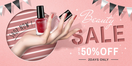 Nail lacquer sale ads with a hand holding products in 3d illustration, lovely pink background with party flags