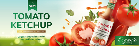 Tomato ketchup ads with splashing sauce and fruit on bokeh background, 3d illustration