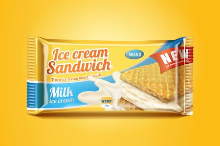 Ice cream sandwich package design in 3d illustration on chrome yellow background Ilustração