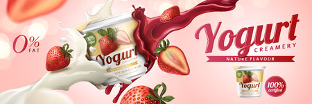 Strawberry yogurt ads with milk and fruit jam splashing in the air on pink background, 3d illustration