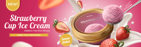 Strawberry cup ice cream ads with milk pouring down from top with fuit on pink background, 3d illustration Stock Illustratie