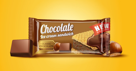 Hazelnut chocolate ice cream sandwich package design in 3d illustration on chrome yellow background
