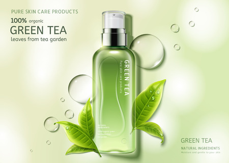 Green tea skin care spray bottle with leaves and water drop elements, top view container in 3d illustration Иллюстрация
