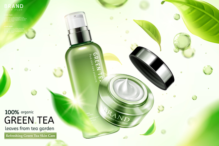 Green tea skin care cream and sprays with flying tea leaves and water drop elements in 3d illustration