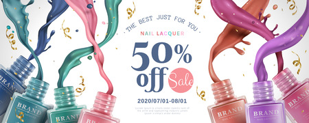 Nail lacquer sale ads with colorful splashing liquid from bottles in 3d illustration, streamers falling down from sky on white background Иллюстрация