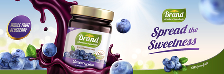 Blueberry jam ads with splashing liquid pouring down from sky on bokeh background, 3d illustration Ilustração