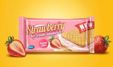 Strawberry ice cream sandwich package design in 3d illustration on chrome yellow background Ilustração