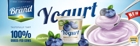 Blueberry yogurt ads with a spoon of delicious cream on bokeh background, 3d illustration