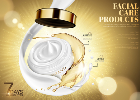 Facial care jar with swirling oil and cream on glowing golden background in 3d illustration