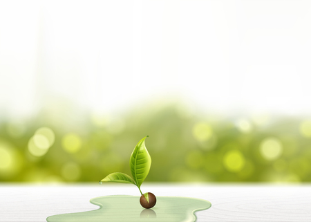 Green sprout with waters on white wooden table in 3d illustration, glitter bokeh background
