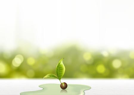Brote verde con aguas en la mesa de madera blanca en la ilustración 3d, fondo bokeh brillo