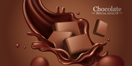 Chocolate splashing sauce with ingredients in 3d illustration