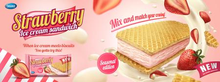 Sandwich à la crème glacée aux fraises avec biscuits gaufrés et crème éclaboussante en illustration 3d, sac en aluminium sur fond rose clair Vecteurs