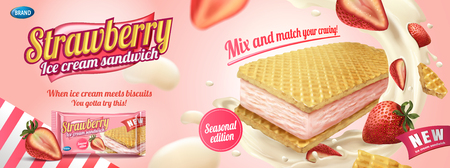 Strawberry ice cream sandwich with wafer cookies and splashing cream in 3d illustration, foil bag on light pink background