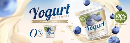 Annunci di yogurt al mirtillo con schizzi di crema e frutta su sfondo bokeh di fondo, illustrazione 3d