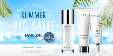 Cosmetici estivi impostati annunci con prodotti su sfondo bokeh spiaggia nell'illustrazione 3d