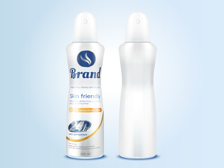 Deodorant spray bottle mockup set in 3d illustration for design uses