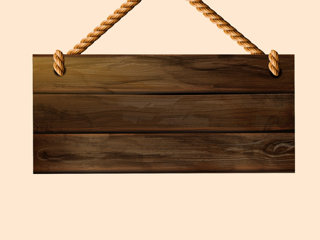 Blank hanging wood plank sign with copy space in 3d illustration Ilustração