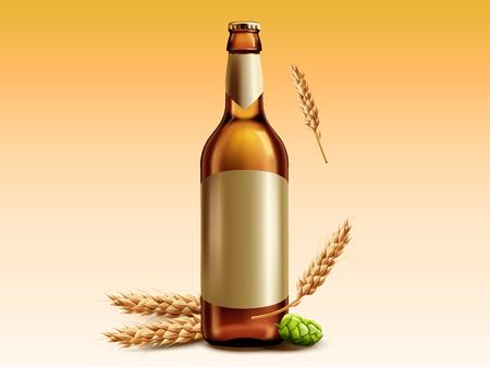 Bouteille en verre de bière vierge avec du blé et du houblon à des fins de conception Vecteurs