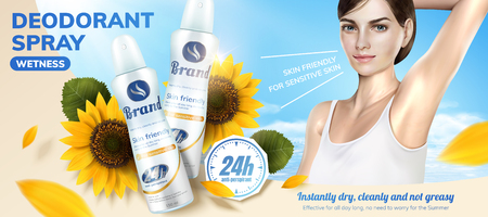 Deodorant spray ads with sunflower fragrance in 3d illustration, a beautiful model applying it