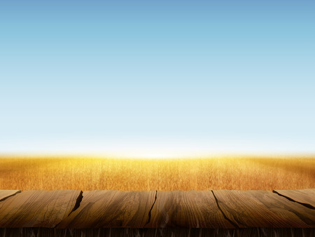 Natural wheat field background with blank wooden table Ilustração