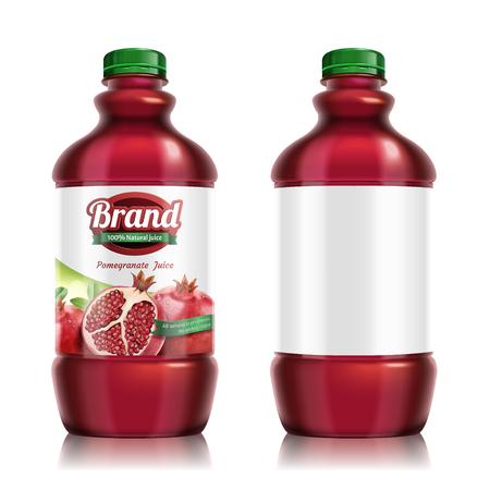 Pomegranates bottled juice package design set in 3d illustration Ilustração