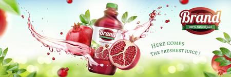 Annunci di succo in bottiglia di melograni con spruzzi di liquido sul fondo naturale del bokeh nell'illustrazione 3d