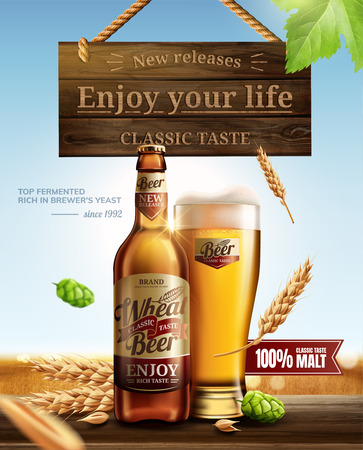 Attractive glass bottle wheat beer with hops on wooden table in 3d illustration, hanging wooden sign element