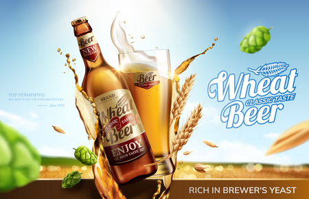 Wheat beer ads with flying ingredients and liquid on bokeh golden wheat field background in 3d illustration