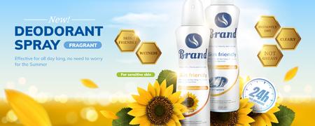 Anuncios de desodorante en aerosol con fragancia de girasol sobre fondo bokeh brillante en ilustración 3d