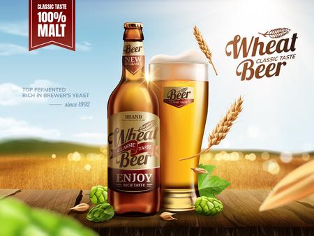Bière de blé en bouteille de verre attrayante avec du houblon sur une table en bois, champ de blé doré bokeh en illustration 3d