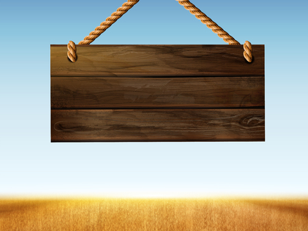 Retro hanging wood sign on bokeh wheat field in 3d illustration