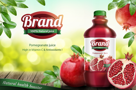 Pomegranates bottled juice ads with fresh fruit on wooden table in 3d illustration Ilustração