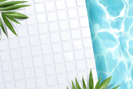 Top view of swimming pool scene with white tile and green palm leaves in 3d illustration