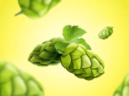 Green hops flower floating in the air in 3d illustration Vectores