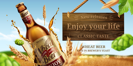 Dynamic glass bottle wheat beer ads with hops and splashing liquid in 3d illustration, bokeh golden wheat field background Vectores