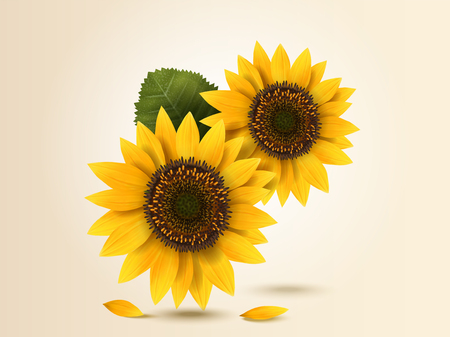 Exquisite sunflower design element in 3d illustration