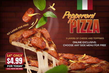 Pepperoni pizza with stringy cheese and basil elements on red brick wall background, 3d illustration