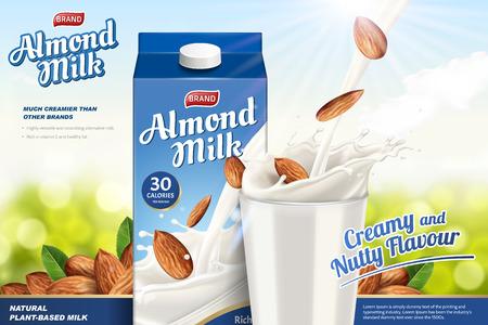Annunci di latte di mandorla con liquido che si riversa in una tazza di vetro sullo sfondo verde glitterato, confezione di cartone di carta in illustrazione 3d