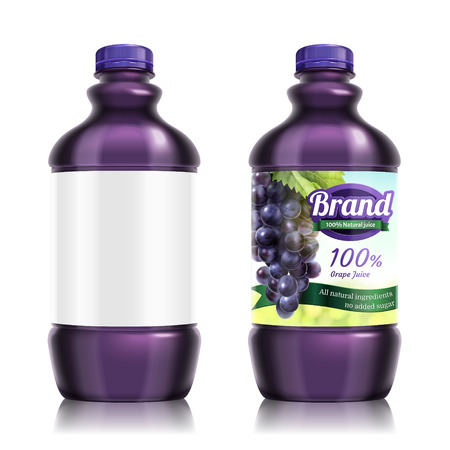 Fresh grape bottled juice package design in 3d illustration, one with blank label