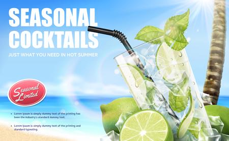 Bebidas de mojito cóctel de temporada con frutas refrescantes en el fondo de la playa de bokeh, ilustración 3d