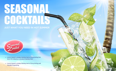 Seasonal cocktail mojito drinks with refreshing fruit on bokeh beach background, 3d illustration