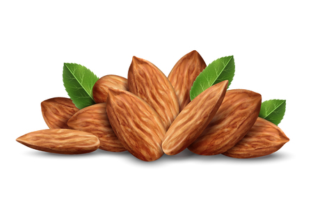 Tas de noix d'amande avec des feuilles isolées sur fond blanc, illustration 3d